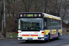 1. ledna 2009 - Karosa Citybus na lince číslo 1 přijíždí do terminálu Tržnice